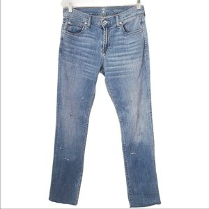 7 For all Mankind Slimmy Distressed Straight Jeans